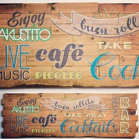 MasQueTiza 5a Rotulación a mano Carteles de madera Akustito Cocktail Restaurante Bar Canarias Carteles de madera Rotulación a mano Tenerife