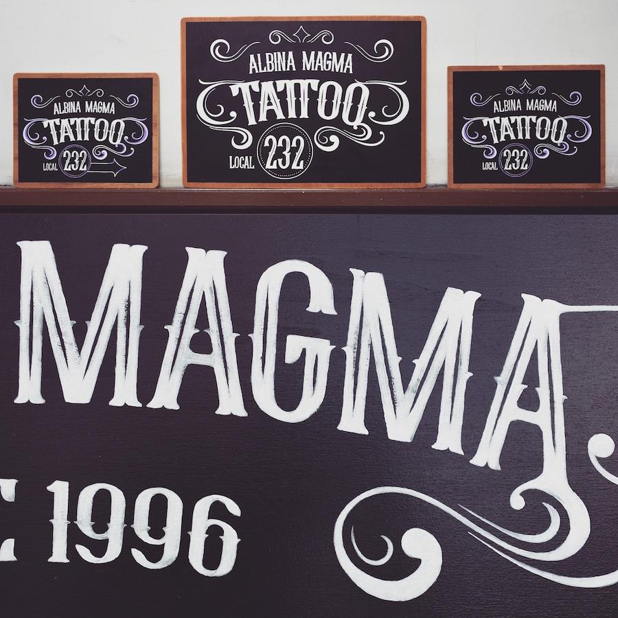 Carteles de Madera Vintage Pizarra Magma Tattoo Tenerife Masquetiza