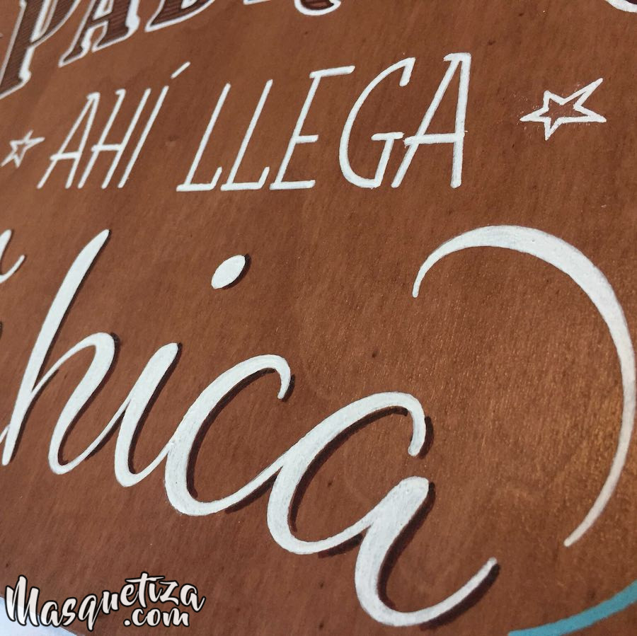 Carteles de madera personalizados para bodas Asturias Masquetiza