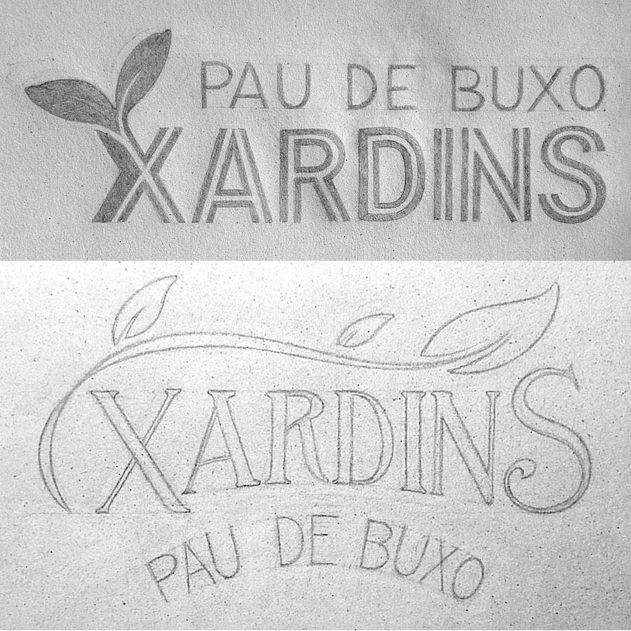 Boceto Diseño de Logo Xardins Pau de Buxo Lettering diseño original Masquetiza