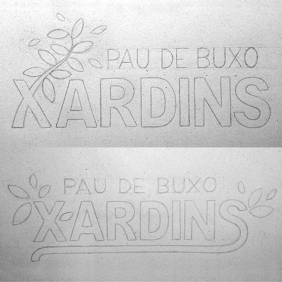 Boceto alternativo para Logo Xardins Pau de Buxo Palo de Boj