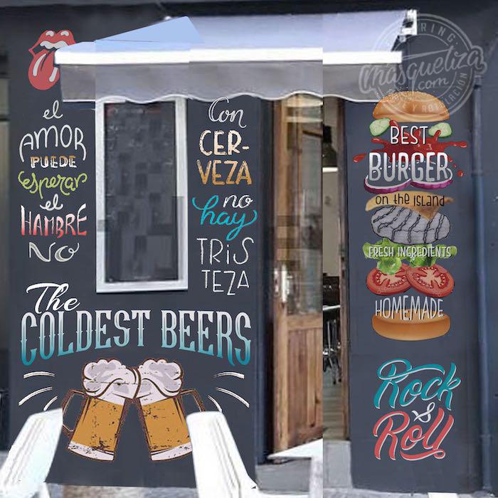 proyecto-pintura-mural-masquetiza-boceto-decoracion-hamburgueseria-tenerife-pizarra-vintage